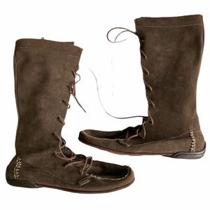Gola Suede Lace Up Moccasin Boots Brown Sz 6 Brown